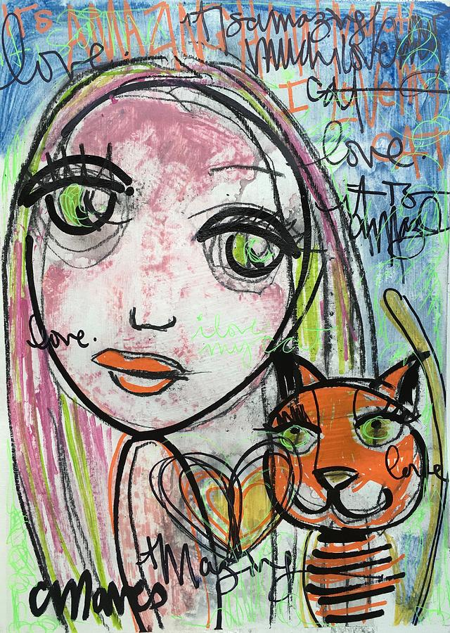 Girl Painting - Its Amazing How Much I Love My Cat by Laurie Maves ART