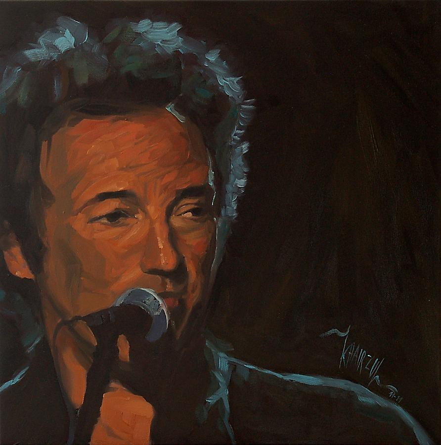 Bruce Springsteen Painting - Its Boss Time - Bruce Springsteen Portrait by Khairzul MG