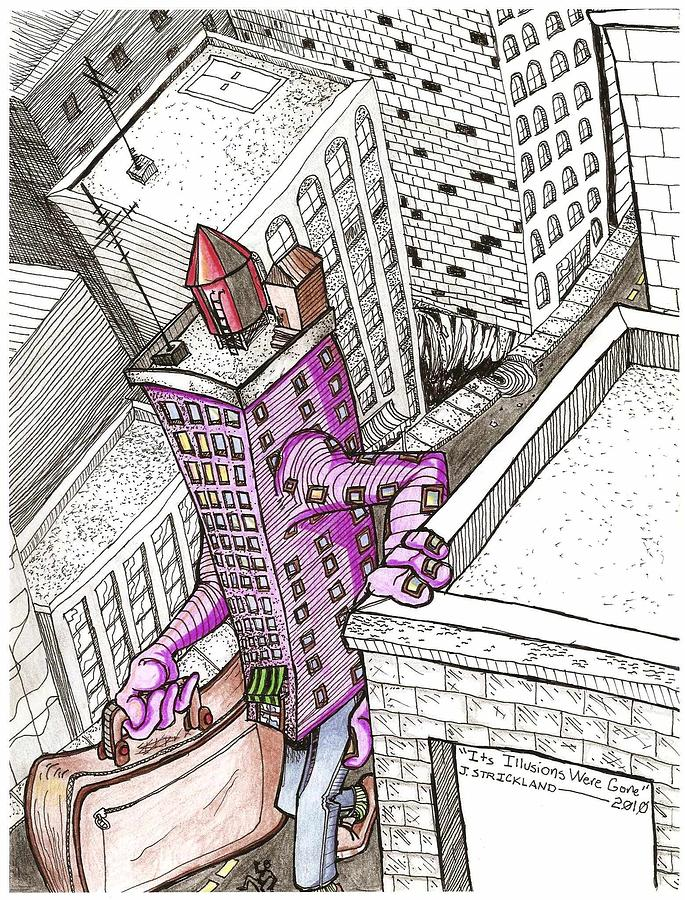 Building  Drawing - Its Illusions Were Gone by Jeremiah Strickland