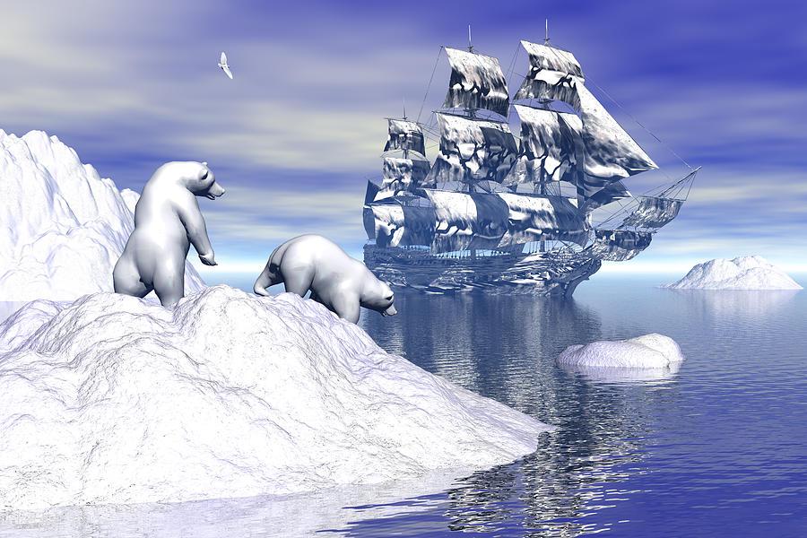 Polar Bear Digital Art - Its Really Cold by Claude McCoy