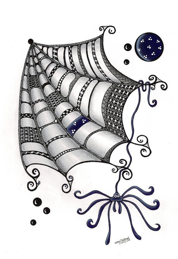 Spider Drawing - Itsy Bitsy Spider by Cathy Nestroyl