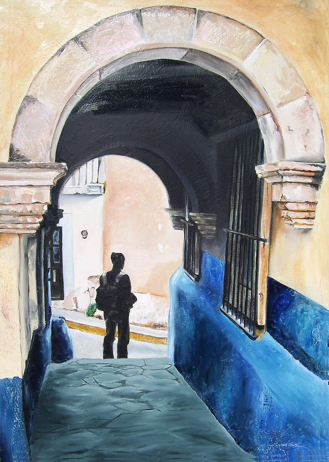 Archway Painting - Ivan In The Street by Laura Pierre-Louis