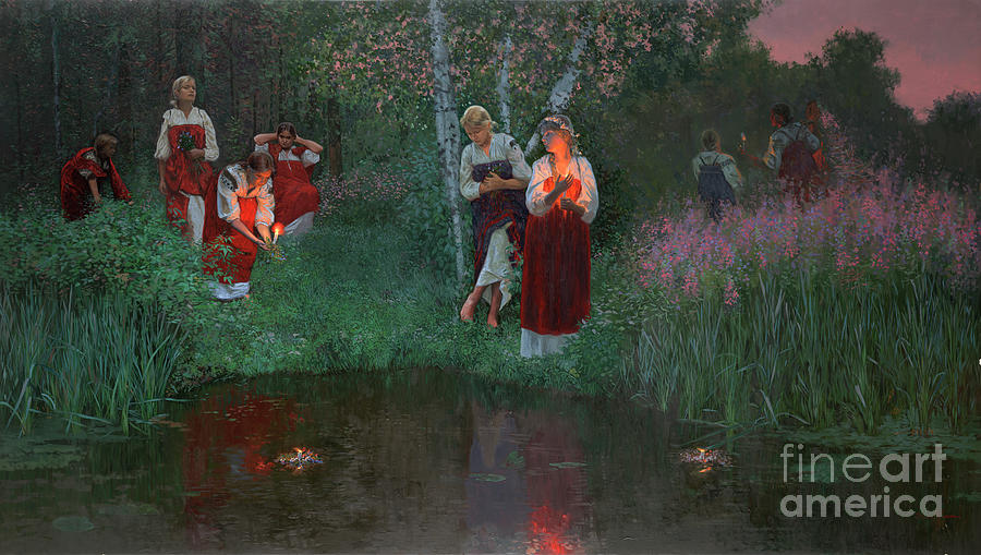 Girs Painting - Ivan Kupala. Fortunetelling For Wreaths. by Simon Kozhin