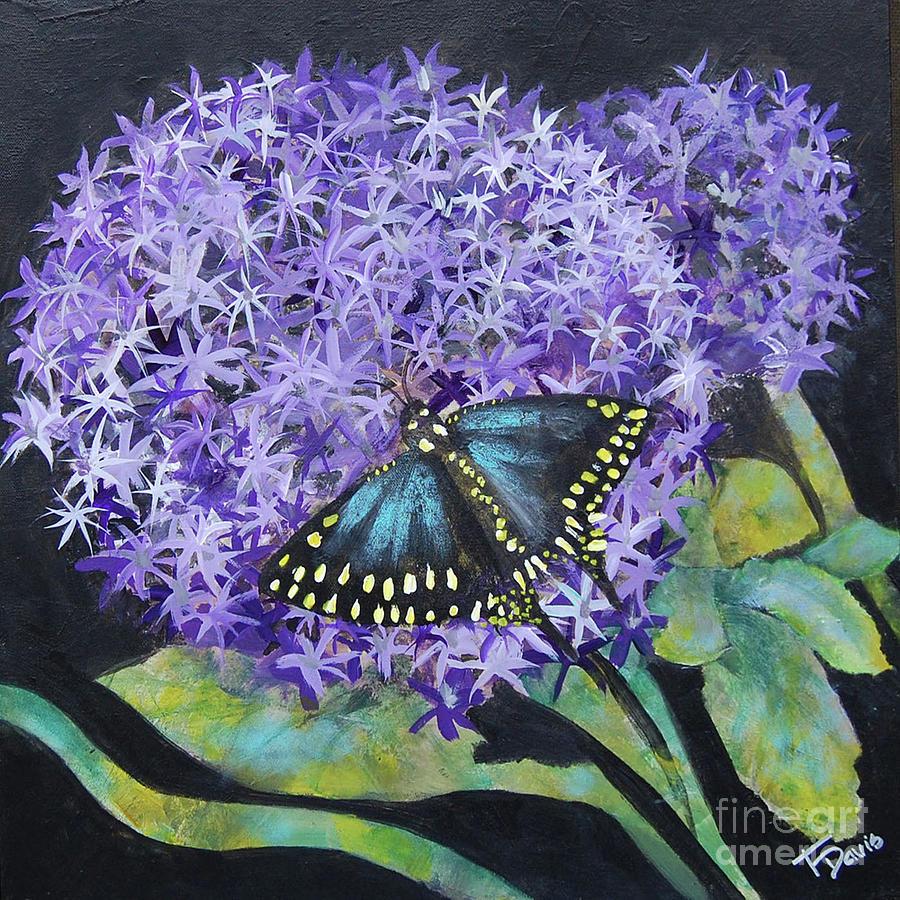 Purple Flower Painting - Ivans Garden 4 - Purple Star Gazer by Terri Davis