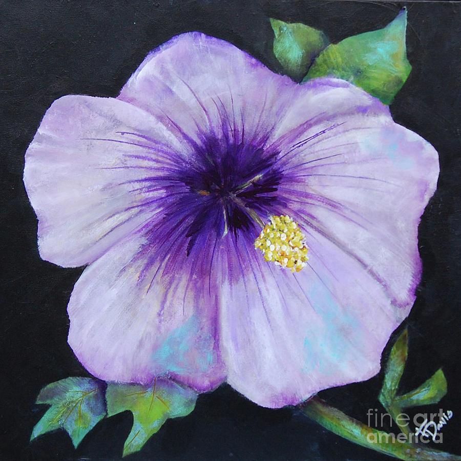 Ivans Garden 6 Purple Hibiscus Painting By Terri Davis