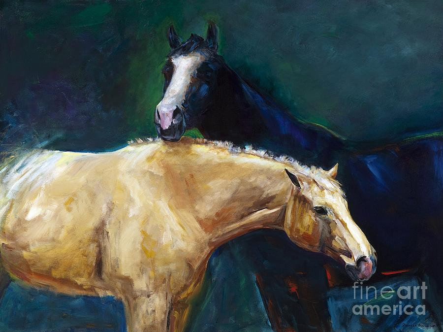 Horses Painting - Ive Got Your Back by Frances Marino