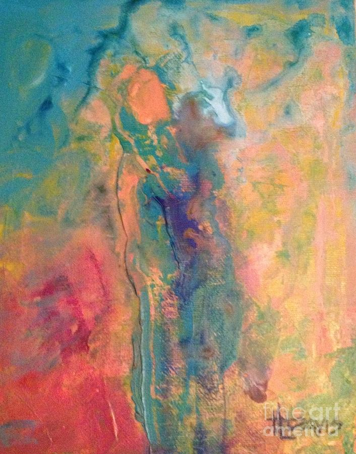 Abstract Figure Painting - Ive Got Your Back by Terri Davis