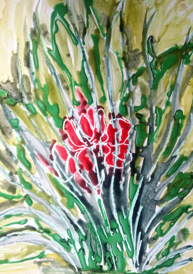 Abstract Painting - Ivine Flowers by Baljit Chadha