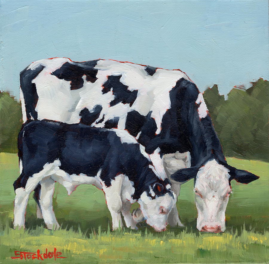 Ivory And Calf Mini Painting  by Margaret Stockdale