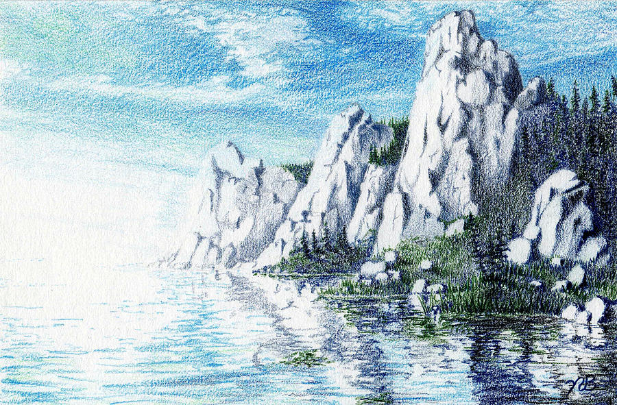 Ivory Drawing - Ivory Cliffs by Nils Bifano