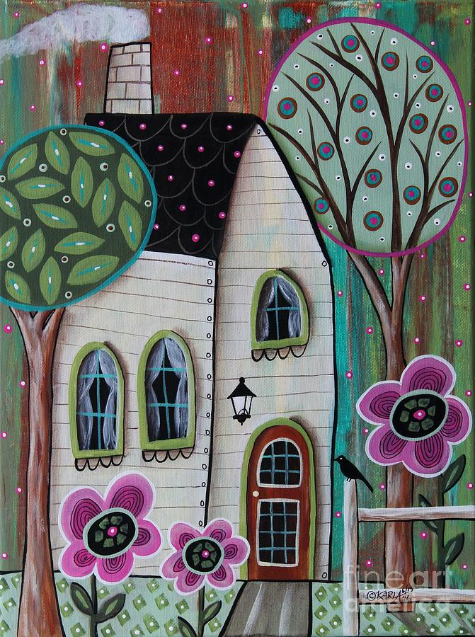Landscape Painting - Ivory Cottage by Karla Gerard