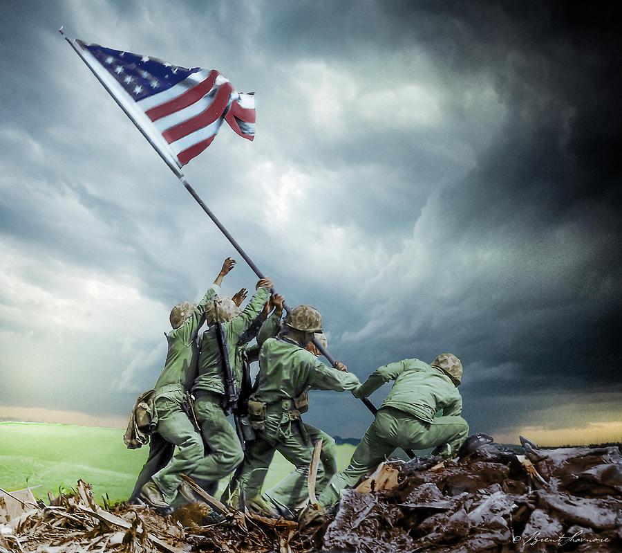 Iwo Jima 2nd Flag Raising Restored Photograph by Brent Shavnore