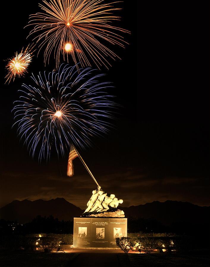 Iwo Photograph - Iwo Jima Flag Raising by Michael Peychich