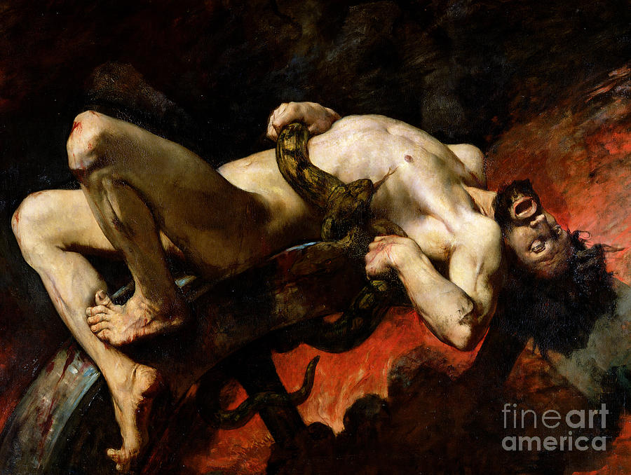 Man Painting - Ixion Thrown Into Hades by Jules Elie Delaunay