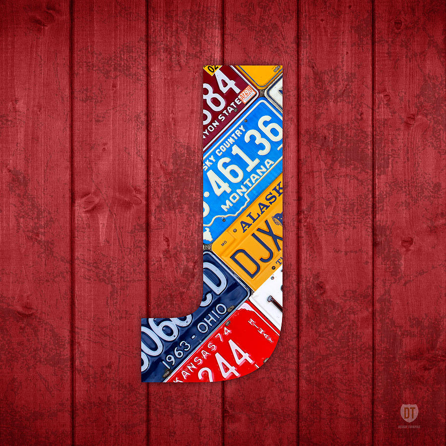 J Mixed Media - J License Plate Letter Art Red Background by Design Turnpike