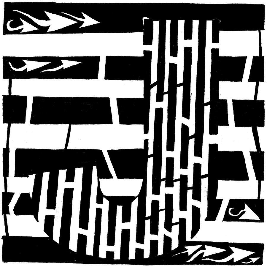 J Drawing - J Maze by Yonatan Frimer Maze Artist