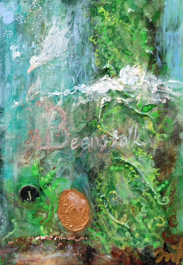Green Mixed Media - Jack And The Beanstalk by Jennifer Kelly
