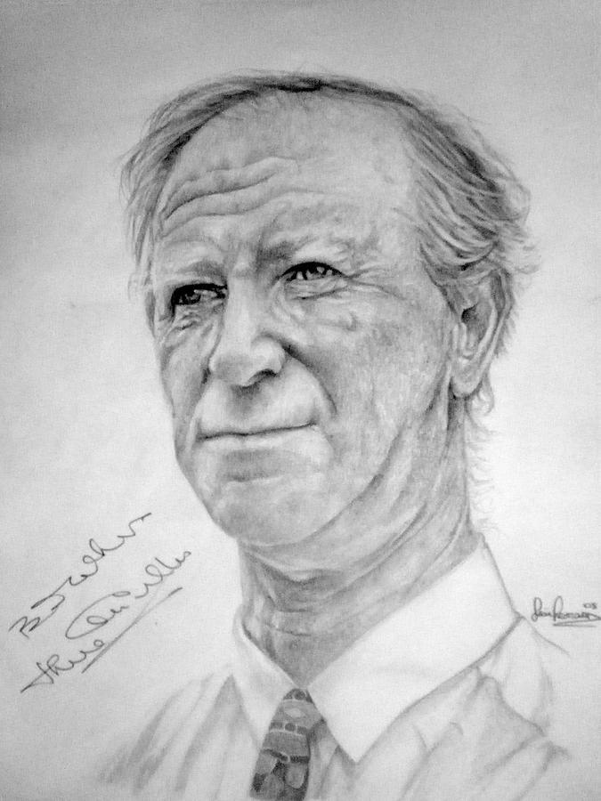Portrait Drawing - Jack Charlton by Sean Leonard
