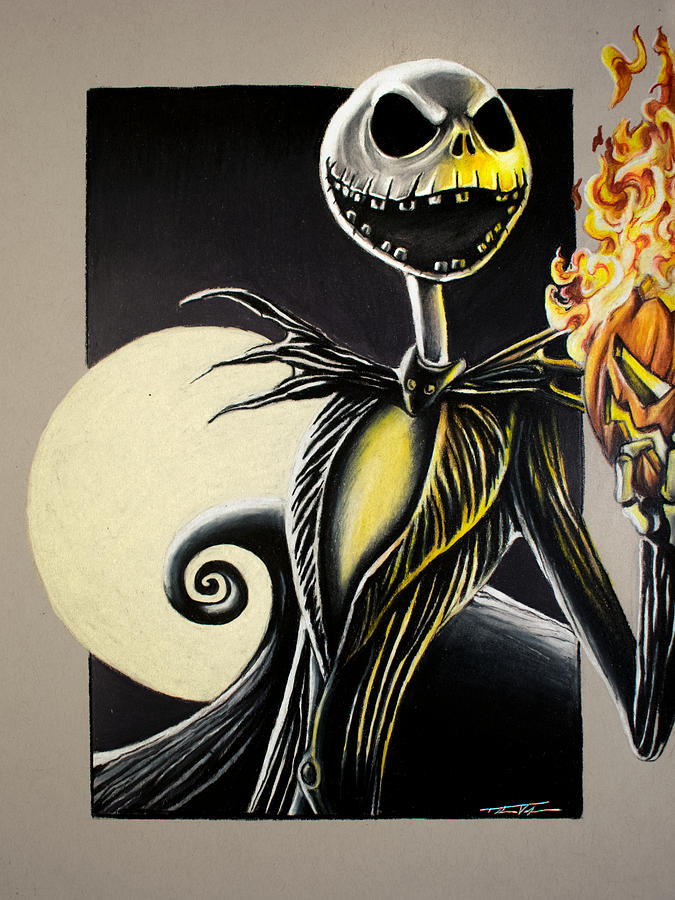 Jack Skellington The Pumpkin King Drawing By Thomas Volpe