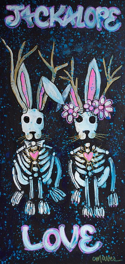 Love Painting - Jackalope Love by Laurie Maves ART