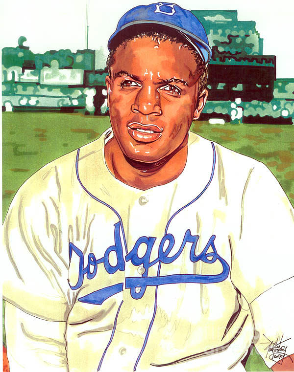 Mlb Drawing - Jackie Robinson by Neal Portnoy