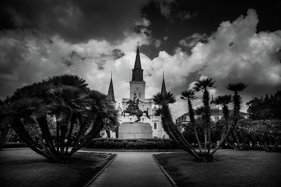 Jackson Square Sunrise In Black And White Photograph by Chrystal Mimbs