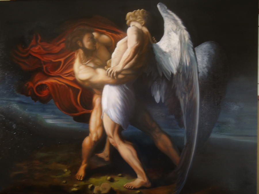 Angel Painting - Jacob Wrestling The Angel by Paul Gilbert Baswell