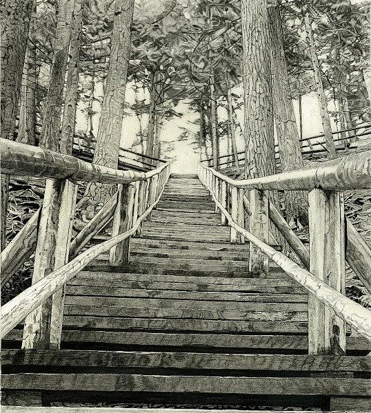 Jacob's Ladder Drawing - Jacobs Ladder by Robb Scott