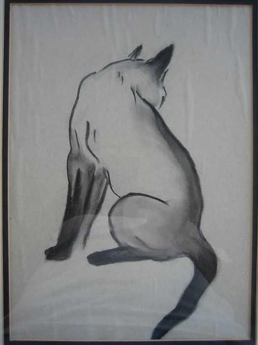 Siamese Cat Drawing - Jacque by Joanie Arvin