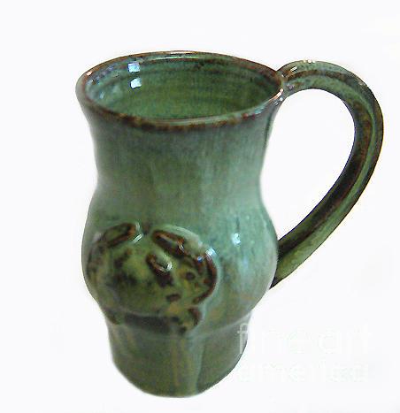 Pottery Ceramic Art - Jade Crab Mug by Vernon Nix