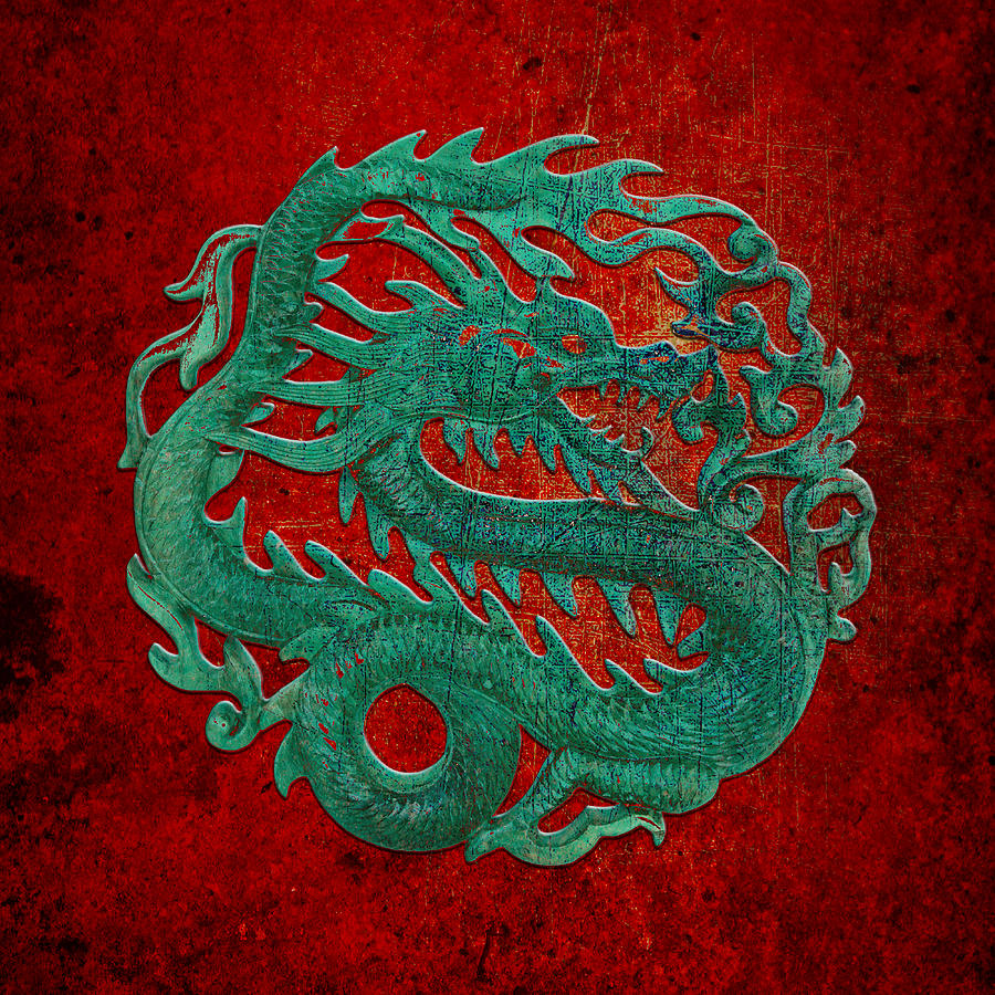 Jade Dragon Carving on a Red Background by Fred Bertheas