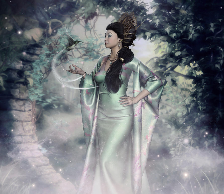 Asian Woman Digital Art - Jade Green Empress by Rachel Dudley