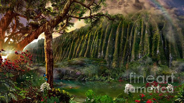 Papilio Ulysses Painting - Jade Ponds by Satoshi Matsuyama