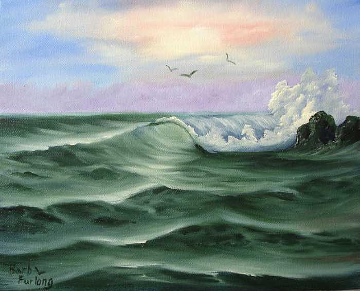 Seascape Painting - Jade Sea Seascape Oil Painting by Barbara Furlong