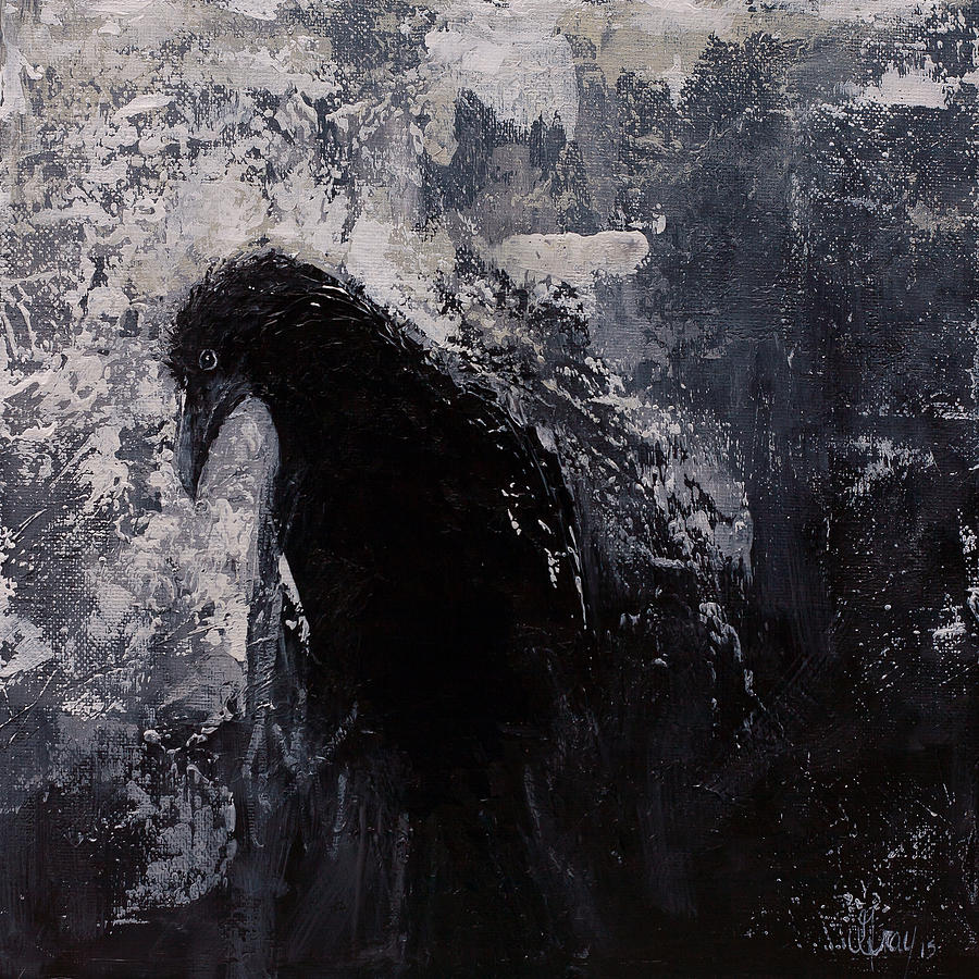 Jaded Original Raven Painting Black And White Crow Art