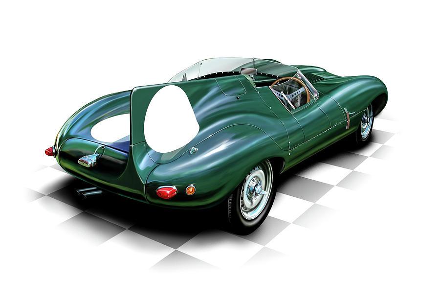 Automotive Digital Art - Jaguar D Type by David Kyte