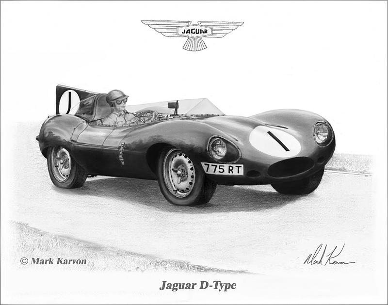 Jaguar Painting - Jaguar D-type by Mark Karvon