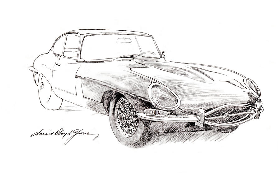 Jaguar Drawing - Jaguar E-type by David Lloyd Glover