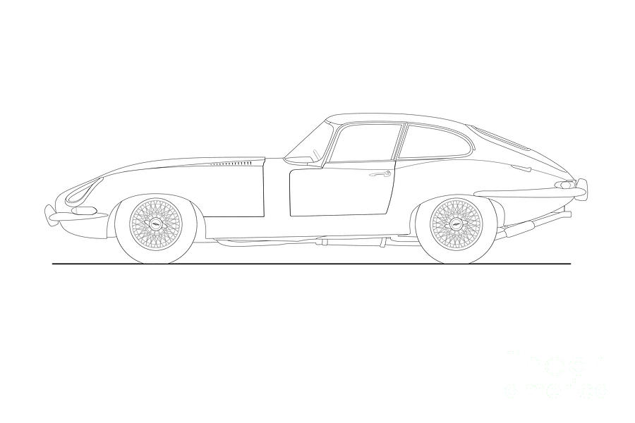 jaguar e type fixed head coupe drawing drawing by steve h