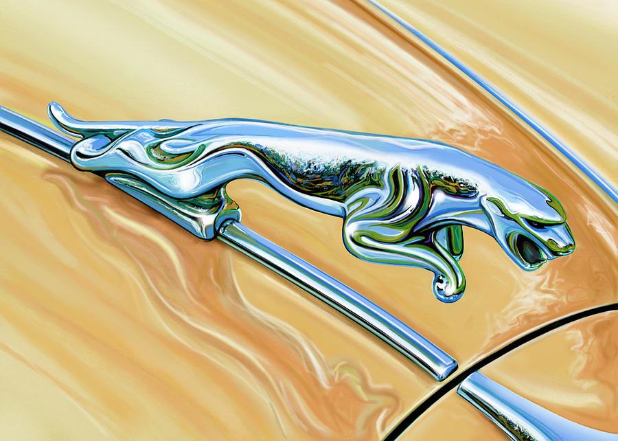 Jaguar Digital Art - Jaguar Hood Cat by David Kyte