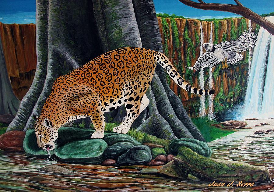 Jaguar In The Amazon Jungle Painting By Juan Jose Serra