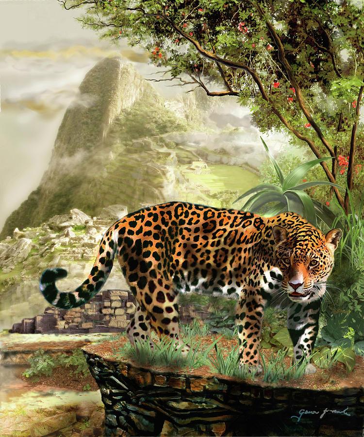 Jaguar In The Shadow Of  Machu Picchu Peru Painting