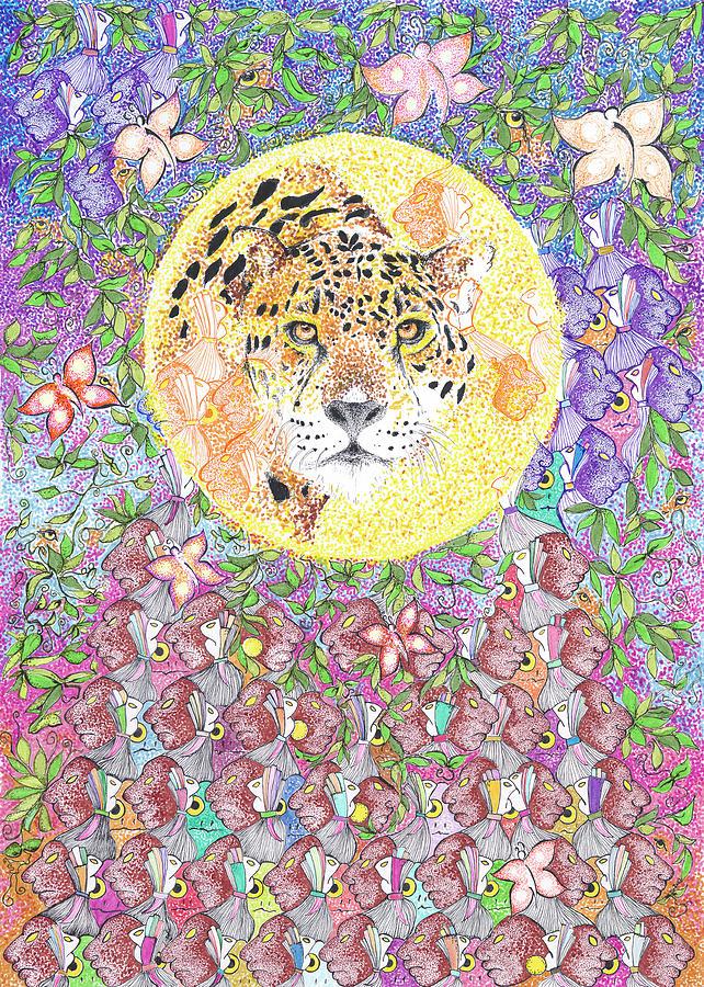 Jaguar Drawing - Jaguar Night by Doug Johnson