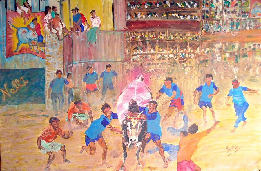 Jallikattu Painting - Jallikattu- The Bull Fight by Narayan Iyer