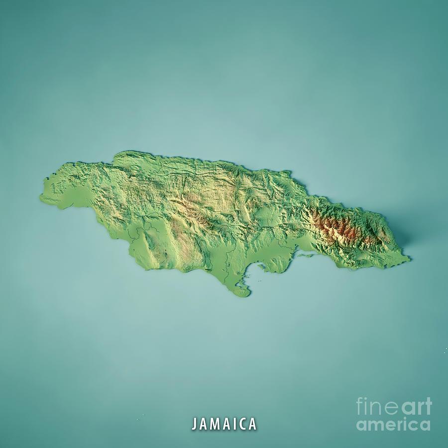 Jamaica Digital Art - Jamaica 3D Render Topographic Map by Frank Ramspott