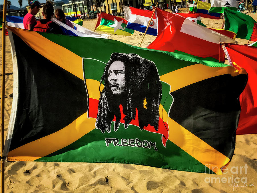 Jamaica and Bob Marley Flag #1 by Julian Starks