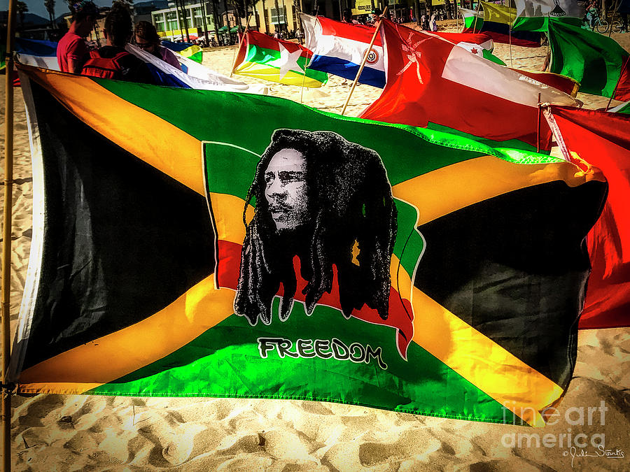 Jamaica and Bob Marley Flag #3 by Julian Starks