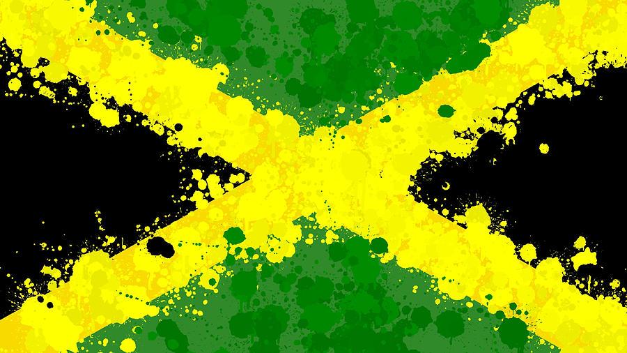 Jamaica Flag Paint Splatter Mixed Media By Dan Sproul