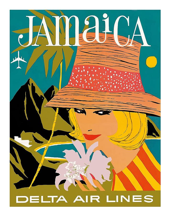 Jamaica Woman With Orchid Vintage Airline Travel Poster