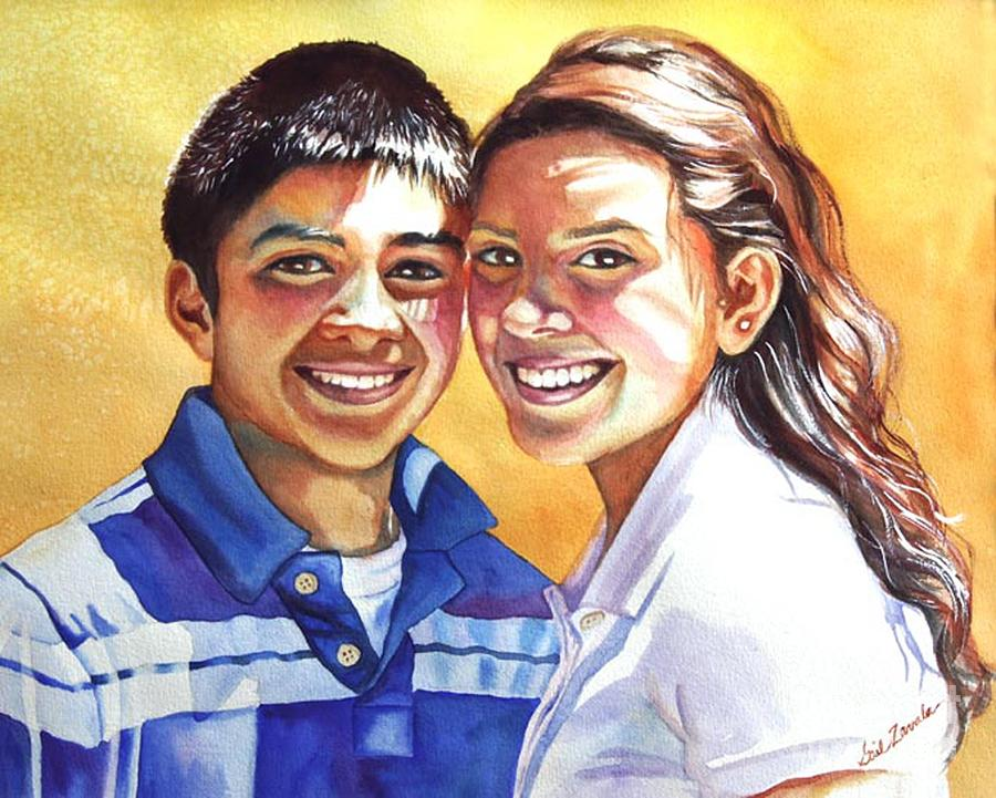 Portrait Painting - James And Bella by Gail Zavala